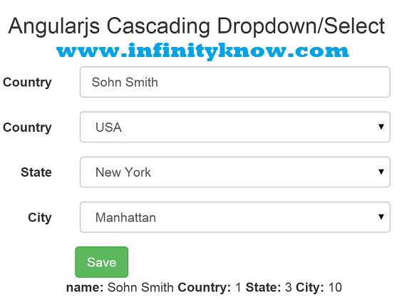 Angularjs Dynamic Dropdown Menu using json